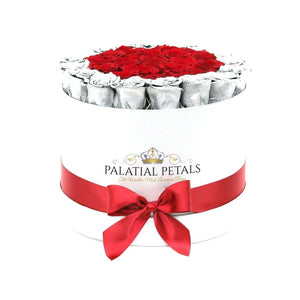 Metallic Silver & Red Roses That Last A Year - Large Rose Box - Palatial Petals