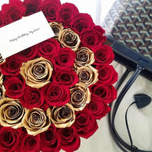 Louboutin Red & 24K Gold Preserved Roses That Last A Year - Large Rose Box - Palatial Petals