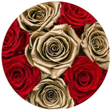 Red & 24k Gold Roses That Last A Year - Small Rose Box - Palatial Petals