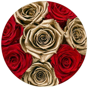 Louboutin Red & 24k Gold Roses That Last A Year - Small Rose Box - Palatial Petals