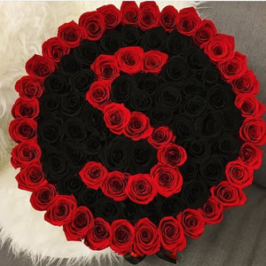 Louboutin Red & Black Magic Roses That Last A Year - XL Custom Rose Box - Palatial Petals