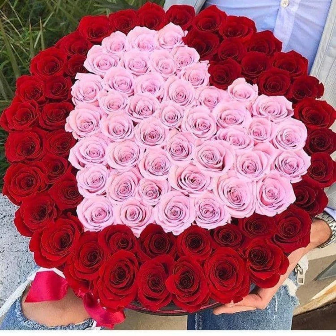 Red & Pink Roses That Last A Year - Deluxe Rose Box - Palatial Petals