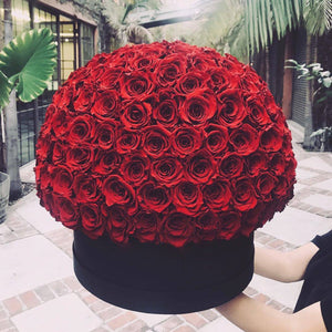 Louboutin Red Roses That Last A Year - XL Deluxe Black Rose Box - Palatial Petals