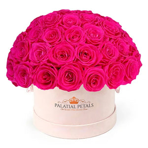 "Flamingo Pink Roses That Last A Year - Medium ""Dome"" Rose Box - Palatial Petals"