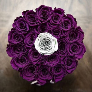 Majestic Purple & Moonlight Silver Roses That Last A Year - Large Rose Box - Palatial Petals