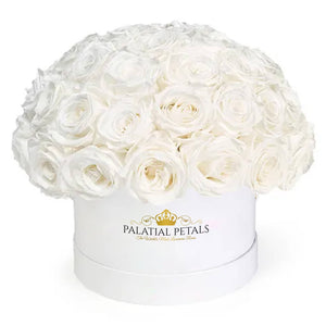 "White Roses That Last A Year - Classic ""Dome"" Rose Box - Palatial Petals"
