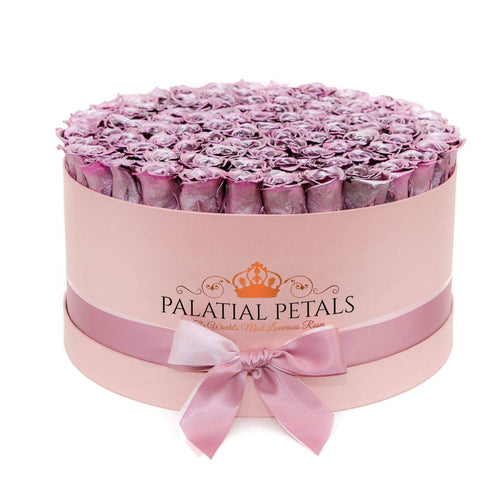 Metallic Pink Roses That Last A Year - Deluxe Rose Box - Palatial Petals