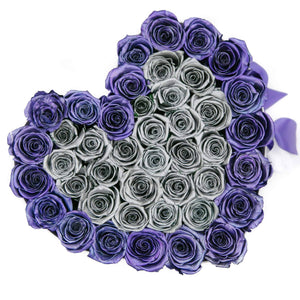 Metallic Purple & Silver Roses That Last A Year - Love Heart Box - Palatial Petals