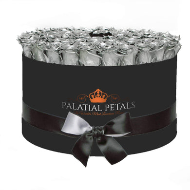 Metallic Silver & Black Roses That Last A Year - Deluxe Rose Box - Palatial Petals