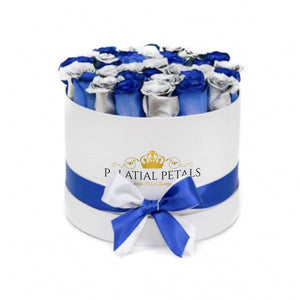 Metallic Silver & Royal Blue Roses That Last A Year - Grande Rose Box - Palatial Petals