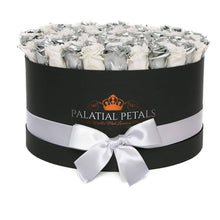 Metallic Silver & White Roses That Last A Year - Deluxe Rose Box - Palatial Petals