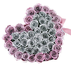 Metallic Pink & Silver Roses That Last A Year - Love Heart Rose Box