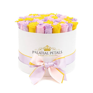 Large White Rose Box - Sunshine Yellow, Sweet Lavender & Bridal Pink Luxury Roses That Last 3 Years! - Palatial Petals