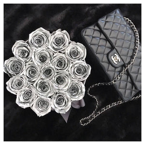 Silver Roses That Last A Year - Medium Rose Box - Palatial Petals