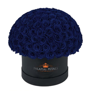 "Royal Blue That Last A Year - Grande ""Crown"" Rose Box"