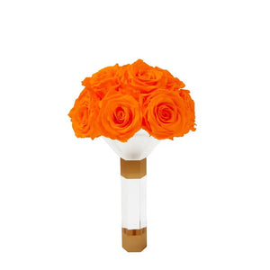 Hermès Orange Luxury Eternity Rose Bridesmaid Bouquet - Palatial Petals
