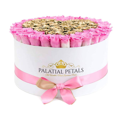 Pink & 24K Gold Roses That Last A Year - Deluxe Rose Box - Palatial Petals
