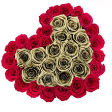Pink & Gold Roses That Last A Year - Love Heart Box - Palatial Petals