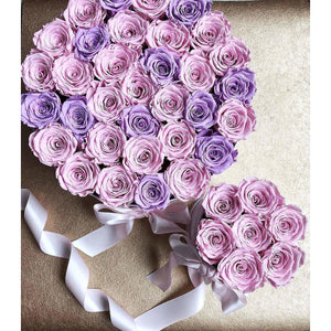 Pink & Lavender Roses That Last A Year - Deluxe Rose Box - Palatial Petals