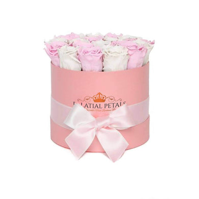 Pink & White Roses That Last A Year - Classic Rose Box - Palatial Petals