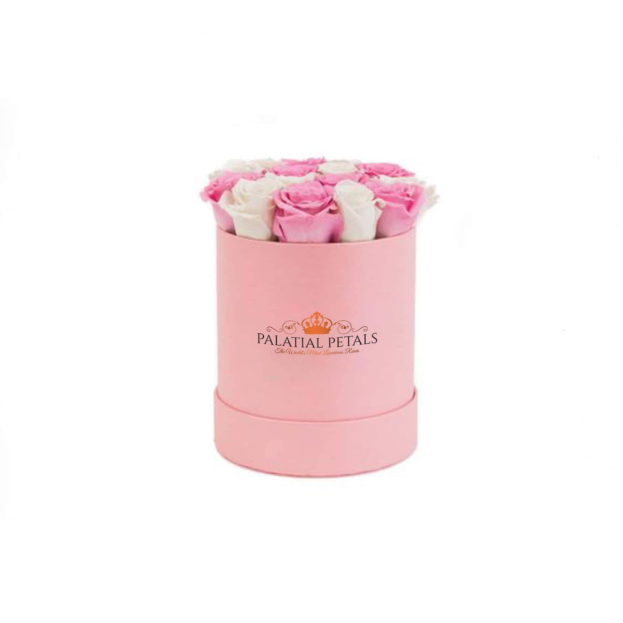 Pink & White Roses That Last A Year - Petite Rose Box - Palatial Petals