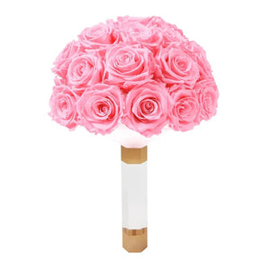Pink Luxury Eternity Rose Bridal Bouquet - Palatial Petals