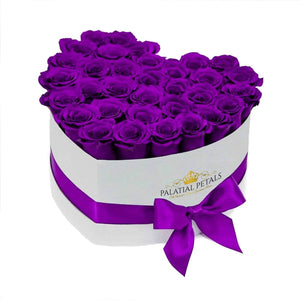 Purple Roses That Last A Year - Love Heart Box