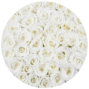 White Roses That Last A Year - Large Gold Box - Palatial Petals