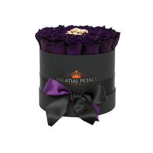 Purple & 24k Gold Roses That Last A Year - Medium Rose Box - Palatial Petals
