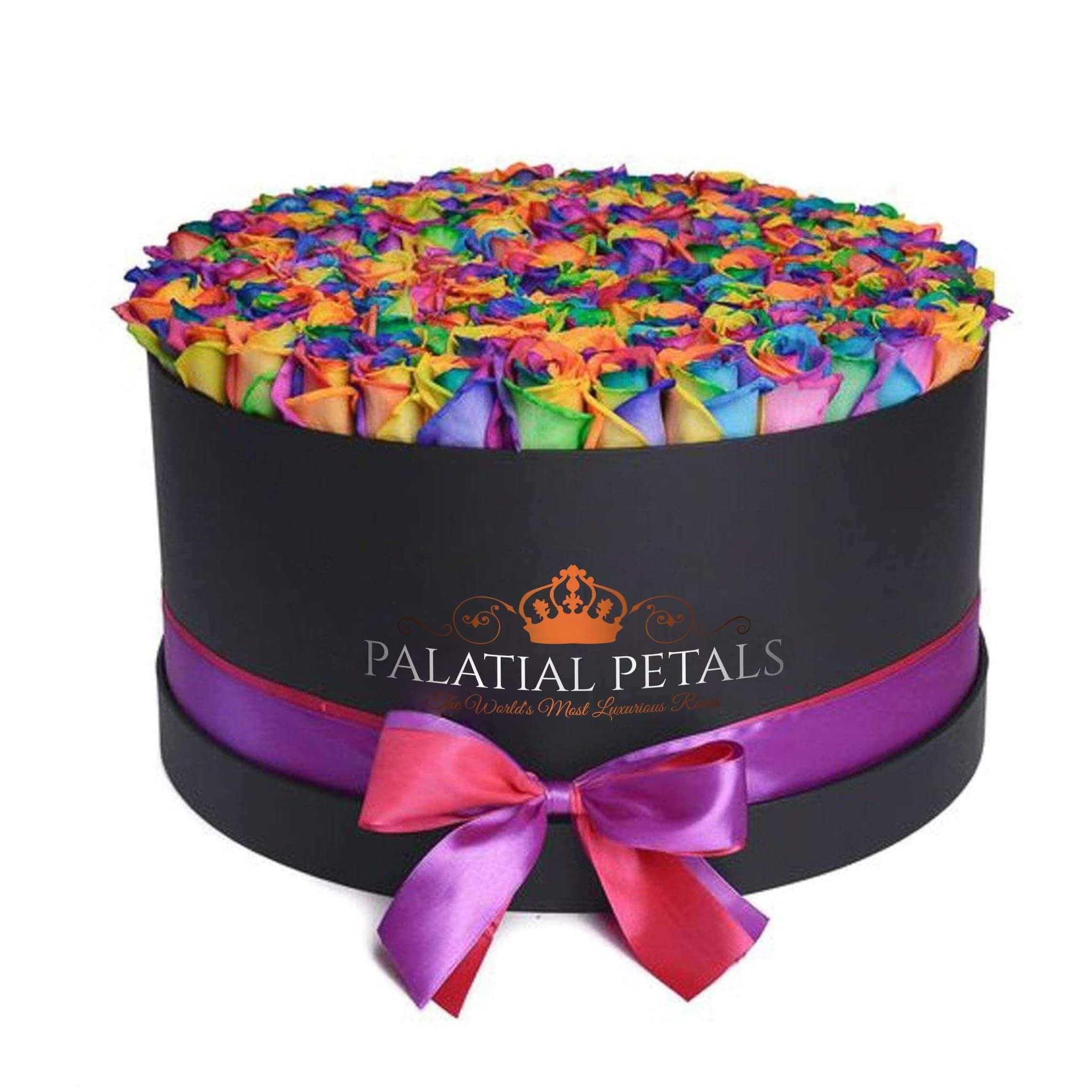 Rainbow Roses That Last A Year - Deluxe Rose Box - Palatial Petals