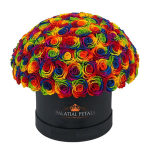 "Rainbow Roses That Last A Year - Grande ""Crown"" Rose Box"