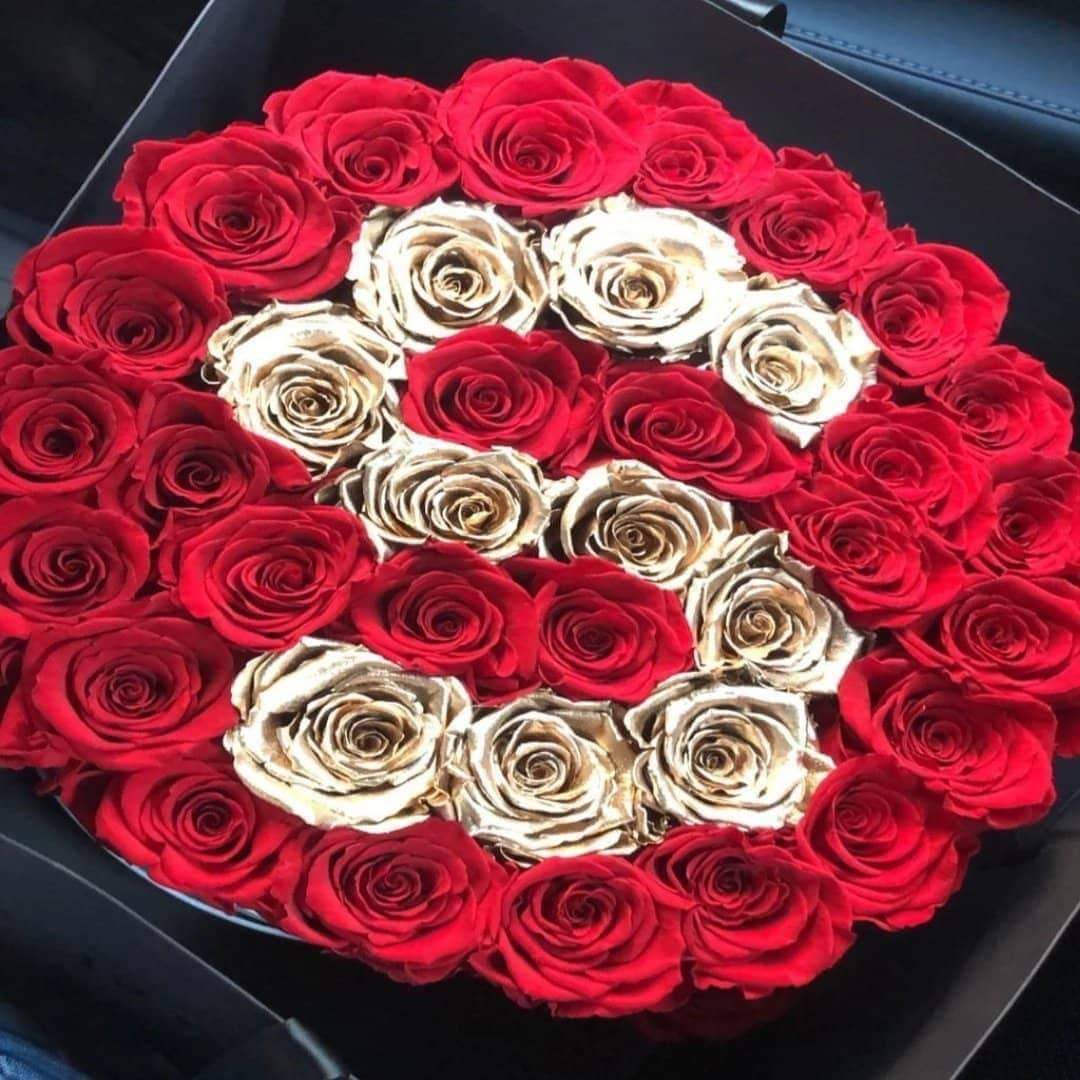 Red & 24k Gold Roses That Last A Year - Customized Deluxe Rose Box - Palatial Petals