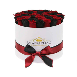 Red & Black Roses That Last A Year - Large Rose Box - Palatial Petals