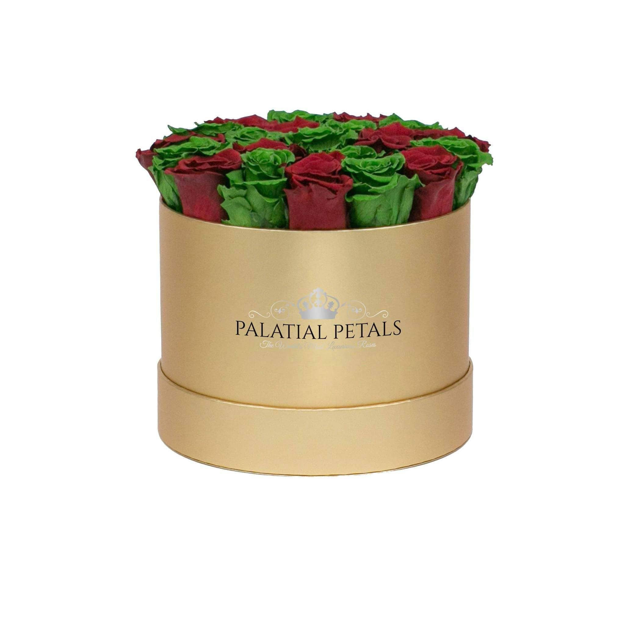 Red & Green Roses That Last A Year - Medium Rose Box - Palatial Petals