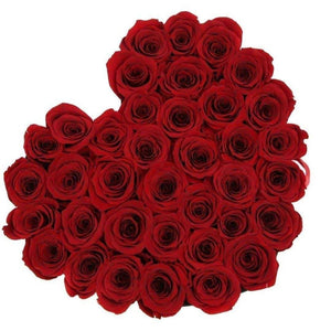Red Roses That Last A Year - Love Heart Box - Palatial Petals