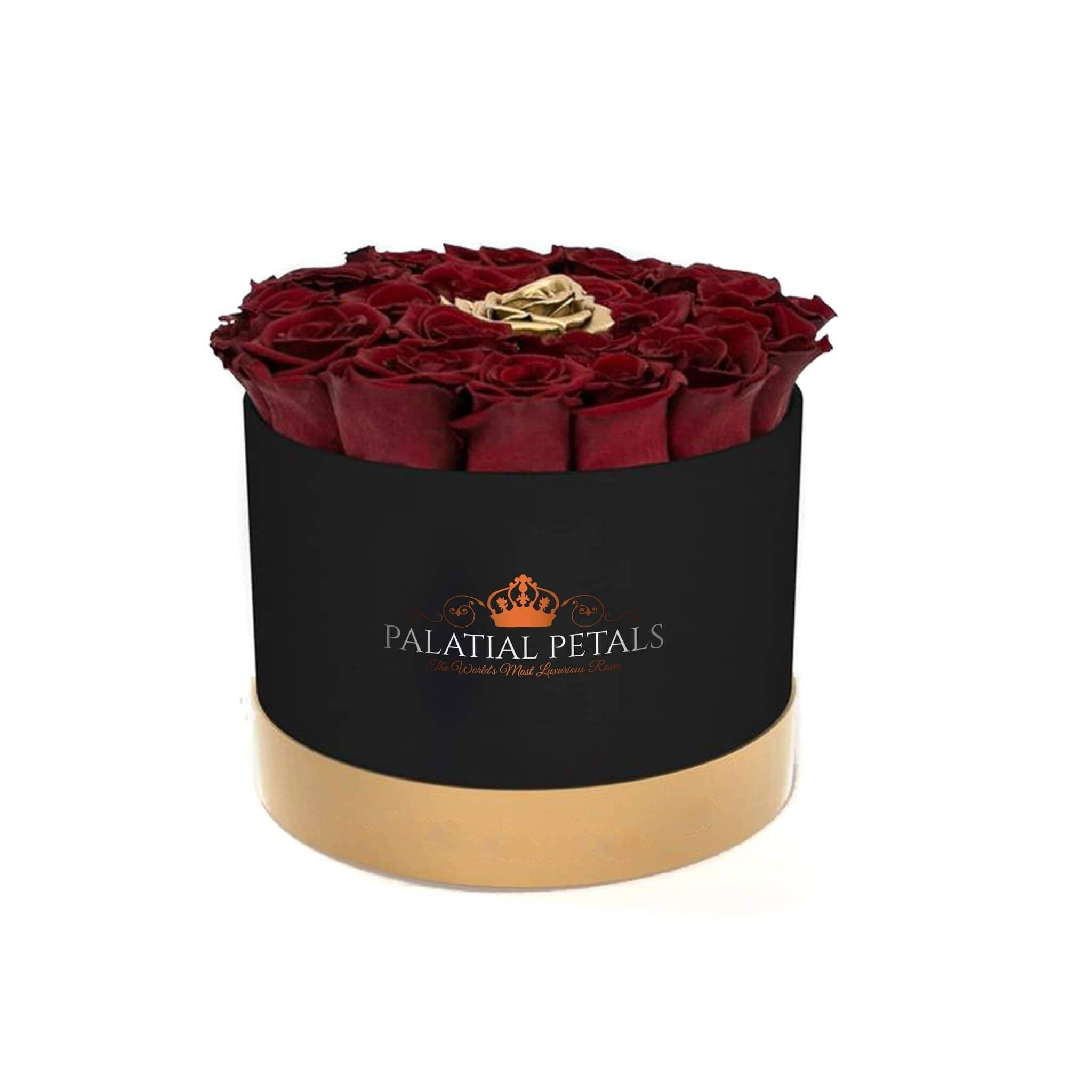 Red Wine & 24K Gold Roses That Last A Year - Classic Rose Box - Palatial Petals