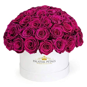 "Red Wine Roses That Last A Year - Medium ""Dome"" Rose Box - Palatial Petals"