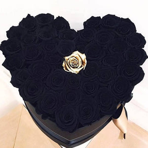 Roses That Last A Year - Love Heart Rose Box - Black & Gold - Palatial Petals