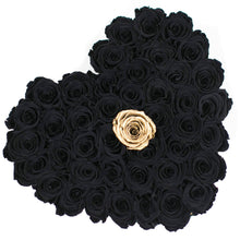 Black & Gold Roses That Last A Year - Love Heart Rose Box - Palatial Petals