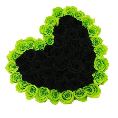 Green & Black Roses That Last A Year - Love Heart Rose Box - Palatial Petals