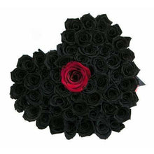 Black & Red Roses That Last A Year - Love Heart Box - Palatial Petals