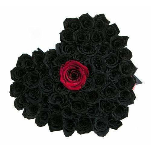 Roses That Last A Year - Love Heart Rose Box - Black & Red - Palatial Petals