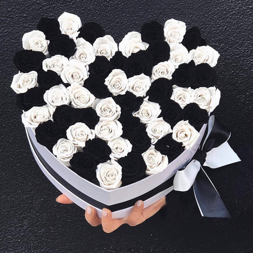 Black & White Roses That Last A Year - Love Heart Box - Palatial Petals