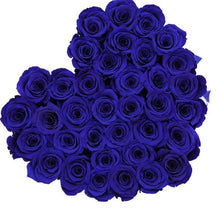 Royal Blue Roses That Last A Year - Love Heart Box - Palatial Petals