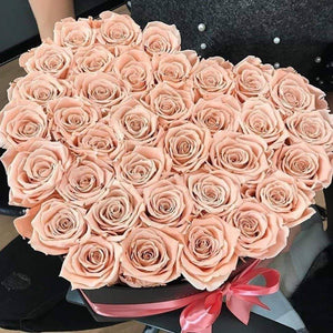 Champagne Roses That Last A Year - Love Heart Rose Box - Palatial Petals