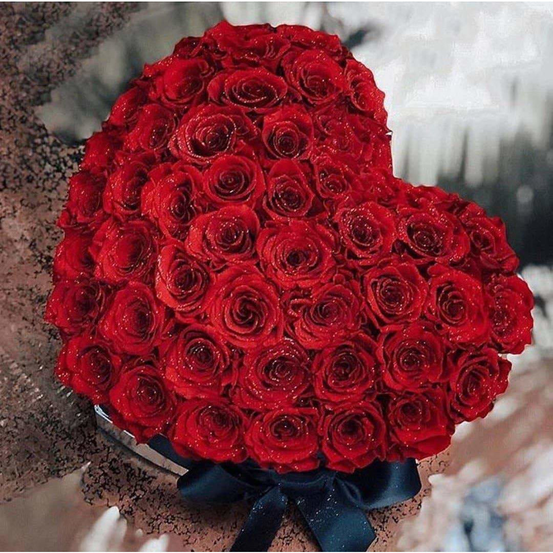 Glitter Red Roses That Last A Year - Love Heart Rose Box - Palatial Petals