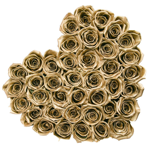 Roses That Last A Year - Love Heart Rose Box - Gold - Palatial Petals