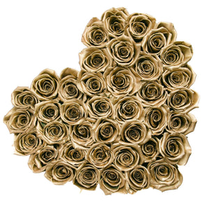 24k Gold Roses That Last A Year - Love Heart Rose Box - Palatial Petals