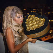 Black & 24k Gold Roses That Last A Year - Love Heart Rose Box - Palatial Petals