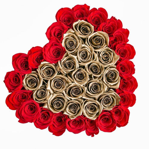 Roses That Last A Year - Love Heart Rose Box - Gold & Red - Palatial Petals